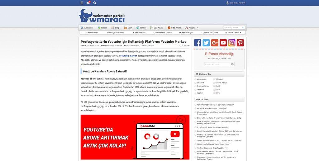 Profesyonellerin Youtube İçin Kullandığı Platform: Youtube Market